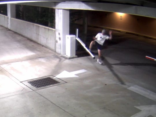 Vero Beach police detectives are looking for this man accused of kicking and breaking a parking garage pole.