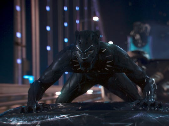 The fully suited Black Panther in action mode.