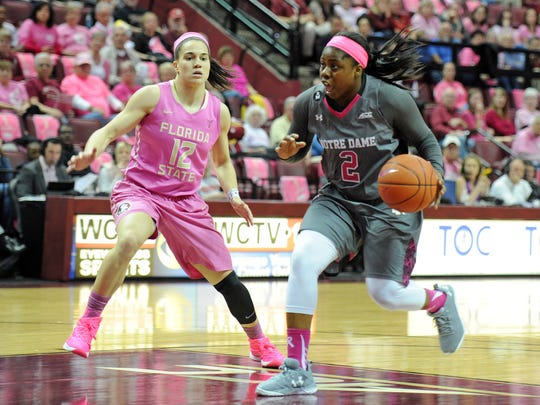 Arike Ogunbowale dribbles to the rim against Brown. Florida   State next takes on NC State on Thursday.