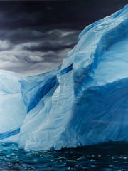 """A soft pastel on paper piece by artist Zaria Forman, titled """"Newfoundland/Labrador,"""" is part of the exhibit """"Changing Landscapes"""" on Tuesday at Robert L. Ringel Gallery inside Stewart Center on the Purdue campus."""