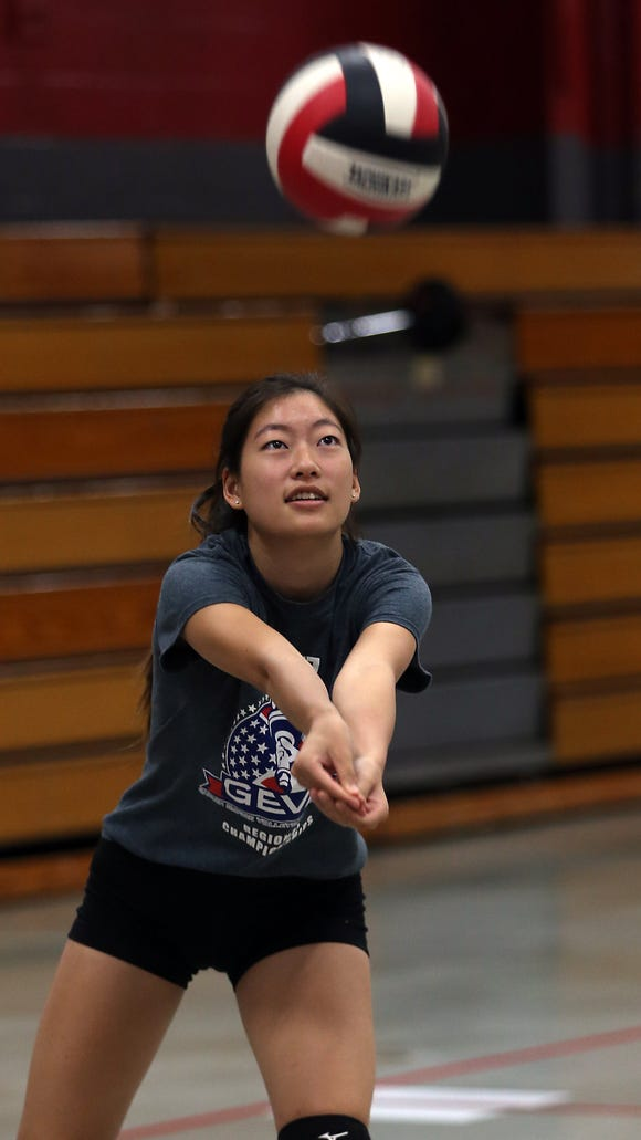 Parsippany High School junior Jessica Ho during volleyball practice. August 30, 2016, Parsippany, NJ