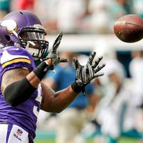 Dec 21, 2014; Miami Gardens, FL, USA; Minnesota Vikings middle linebacker Jasper Brinkley (54) warms up prior to the game against the Miami Dolphins at Sun Life Stadium. Mandatory Credit: Brad Barr-USA TODAY Sports