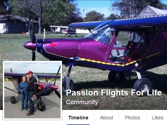 """A look at the """"Passion Flights For Life"""" Facebook page created by Jim Davis."""