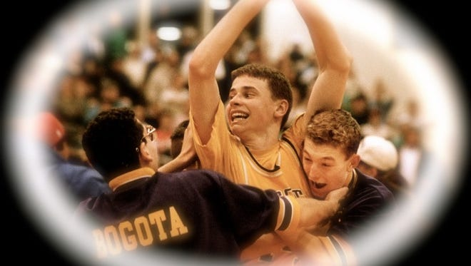 From 1993: BOGOTA'S RYAN SULLIVAN (14)  CELEBRATES WITH TEAMMATES JOHN SHOURKRY (LEFT)  AND ANDY TELFORD (RIGHT).   THEY BEAT RAMAPO 60-57 IN OVERTIME.