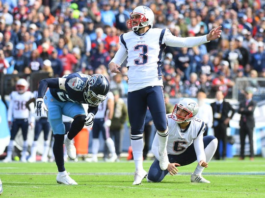 Patriots kicker Stephen Gostkowski (3) kicks a field goal against the Titans earlier this season at Nissan Stadium.