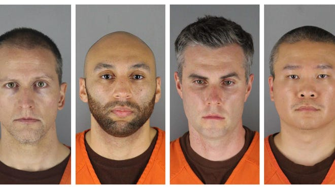 FILE - This combination of photos provided by the Hennepin County Sheriff's Office in Minnesota on Wednesday, June 3, 2020, shows Derek Chauvin, from left, J. Alexander Kueng, Thomas Lane and Tou Thao. Chauvin is charged with second-degree murder of George Floyd, a Black man who died after being restrained by him and the other Minneapolis police officers on May 25. Kueng, Lane and Thao have been charged with aiding and abetting Chauvin. Video from the body cameras of two officers charged in the death of Floyd is being made available for public viewing by appointment on Wednesday, July 15 but a judge has so far declined to allow news media organizations to publish the footage for wider distribution.