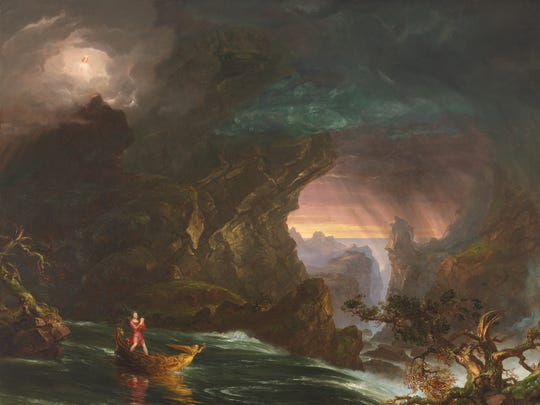 """""""The Voyage of Life: Manhood"""" (1840). From the Taft's explanation: """"Now a bearded, middle-age man, the voyager stands in a rudderless boat that strong currents are sweeping toward a thundering cataract. Fervently praying, he personifies religious faith under duress."""""""