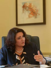 Maltese Minister for Social Dialogue Consumer Affairs and Civil Liberties Helena Dalli speaks during an interview with the Associated Press, in Valletta, Wednesday, Feb. 1, 2017. After a quarter-century as Malta's governing party, the conservative Nationalist Party scrambled to line up a transgender young man as a candidate for next year's Parliamentary elections in hopes of reversing a stinging, landslide 2013 loss to its socialist archrivals who came to power with an agenda heavy on LGBT rights.