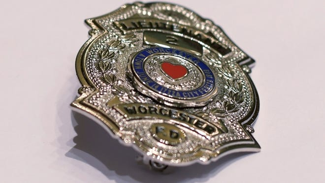 A Worcester firefighter's badge