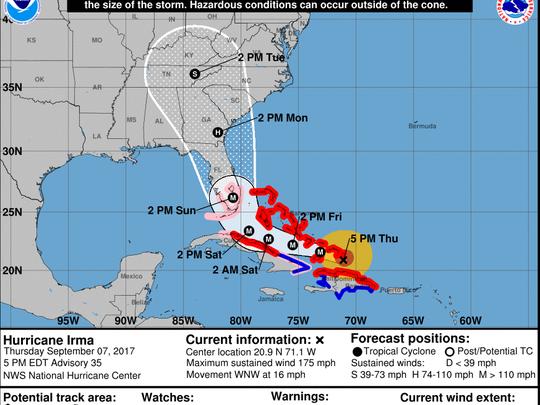 National Hurricane Center 5 p.m., Sept 7 update on Hurricane Irma.