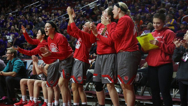 The North Scott bench reacts to a basket. Nevada lost 57-27 to North Scott in a Class 4A state quarterfinal game at Wells Fargo Arena in Des Moines Feb. 28.