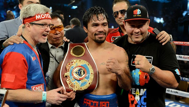 Manny Pacquiao says he doesn't plan to watch the August fight between Floyd Mayweather Jr. and Conor McGregor.