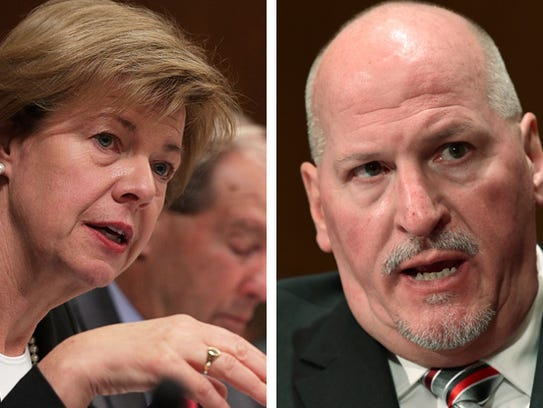 U.S. Sen. Tammy Baldwin (left) and Scott Mugno, nominee