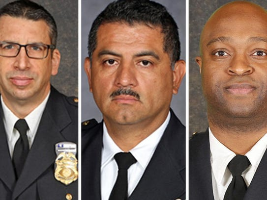 The original finalists for interim Milwaukee Police chief were Assistant Chief James Harpole (from left), Capt. Alfonso Morales and Inspector Michael Brunson. Harpole has since withdrawn.