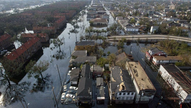 An area just west of the New Orleans downtown business district is shown Sept. 5, 2005, during a search and rescue mission with the 832nd Medical Company out of Wisconsin.
