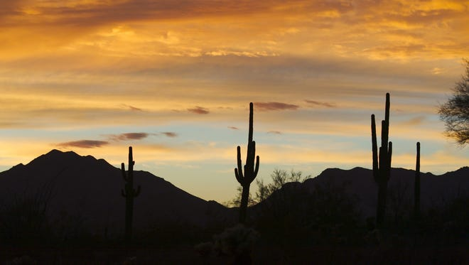 Colorful sunsets add to the beauty of a largely earthquake-free desert landscape..