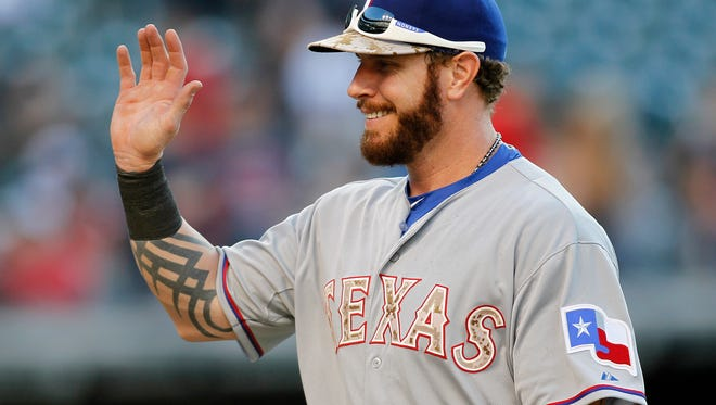 Texas Rangers Josh Hamilton after defeating the Cleveland Indians 10-8 Monday.