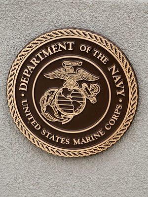 Department of the Navy Crest for the Marine Corps is on display at the Veterans Park.
