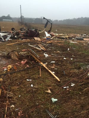 Destroyed trailer in Lamar County.