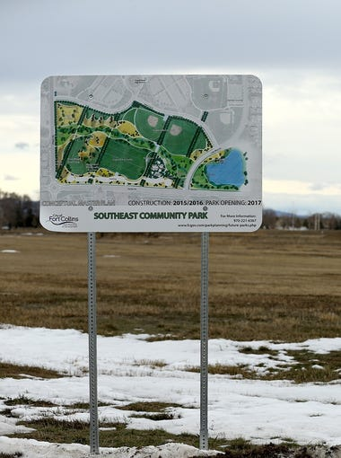 A sign advertises the yet-to-be-constructed Southeast Community Park planned near the intersection of Ziegler and Kechter roads.