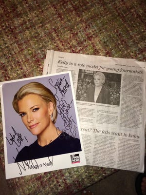 Sophie Barnes wrote a piece praising Fox News' Megyn Kelly for her poise and professionalism in the wake of being attacked by Donald Trump. She received this autographed photo in return.