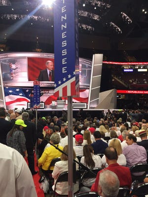 The Tennessee delegation sits in front of the stage at the Republican National Convention