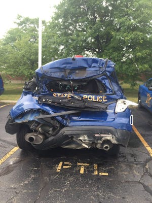 The police cruiser involved in a crash on I-696 at the Lodge on July 25, 2016.