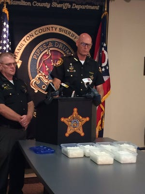 Sheriff Jim Neil announcing the seizure of nearly 17 pounds of crystal meth.