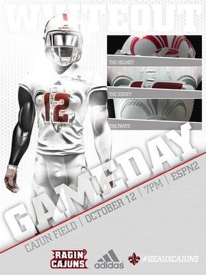 A sneak peek of the uniform that UL plans to wear against Appalachian State on Wednesday night at Cajun Field.