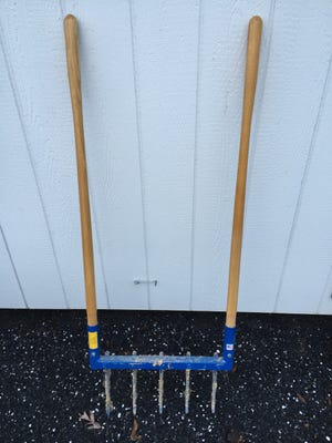 Cleaning and putting a light coat of oil on garden tools like this broadfork will help them last for many years.