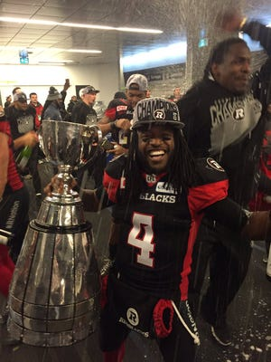 Jamill Smith celebrated the Redblacks' Grey Cup win Sunday night.