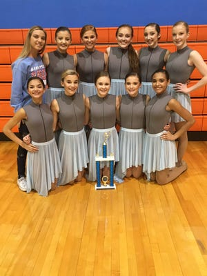 Congrats to the Union Co. High School Dancing Bravettes as they were announced the regional champs in the small jazz division. Bottom row, left to right: Anessa Bell, Savannah Horton, Madi Hagan, Ariel Bennett, Aubree Mills. Top row, left to right: Savannah Owens, Macy Crump, Jamee French, Emily Greenwell, Katelyn Hendrickson, and Haley LaRue.