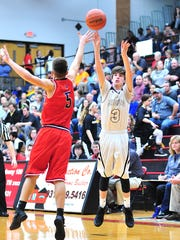 Fairview's DJ Estes hits a deep 3-pointer over Creek