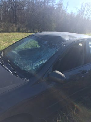 A pedestrian was hit by this vehicle on Interstate 55 Thursday.