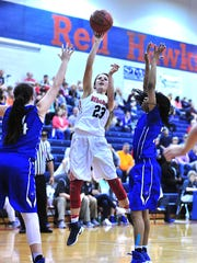 Creek Wood's Lydia Edmondson puts up a shot in the