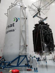 The Inmarsat-5 Flight 4 satellite before being encapsulated