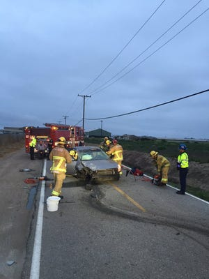 Oxnard Fire responded to a report of a single-vehicle crash on Teal Club Road Thursday morning.
