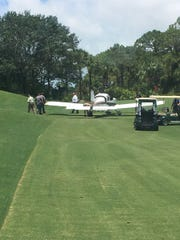 A plane experiencing mechanical failure landed on a fairway near the first tee Thursday, June 8, 2017, at the Naples Grande Golf Club.