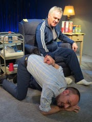 """Malachy Cleary (seated) and Dan McVey co-star in """"Halftime with Don."""""""