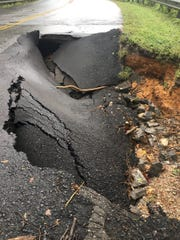 Sink hole at Chester Road and Birch Bark Road.