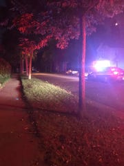 Police on Sunday were searching an area near a Scott Street house after reports of shots fired.