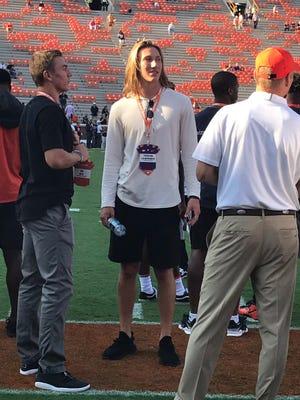 Trevor Lawrence is in attendance at Clemson's game against Auburn.