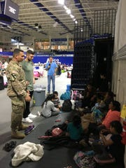 Tim Tebow, currently an outfielder in the New York Mets' organization and the former Heisman Trophy winning Florida quarterback, visited FGCU's Alico Arena while it was being used as a shelter during Hurricane Irma.