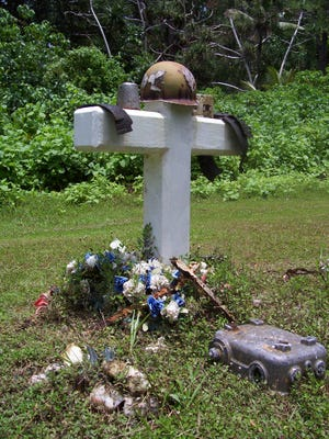 After the U.S. Marines' bodies were repatriated back to the States, residents of Peleliu remembered their saviors with memorials and flowers.