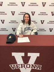 Verona's Maggie Ashley signs her National Letter of