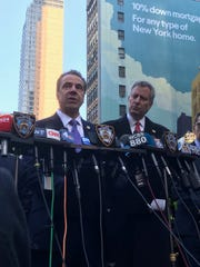 Gov. Andrew Cuomo and Mayor Bill de Blasio discuss the  explosion that went off around 7:30 a.m. Monday, Dec. 11, 2017, at the area of the Port Authority bus terminal.