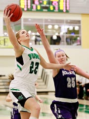 York College's Katie McGowan, shown here in a game earlier this season, was named the Spartan Athlete of the Week after she scored 20-plus points in both of the team's contests last week. DISPATCH FILE PHOTO