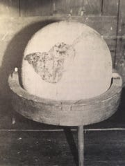 A globe made by William Macclure, about 1790.