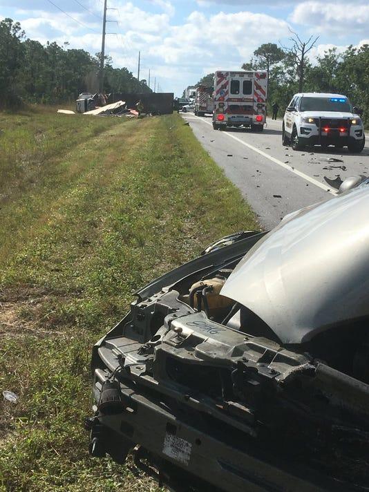 Crash causes partial road blockage
