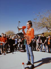 Students from Desert Mountain High School in Scottsdale participate in a walkout protest on  Feb. 22, 2018, in solidarity with Stoneman Douglas High School.